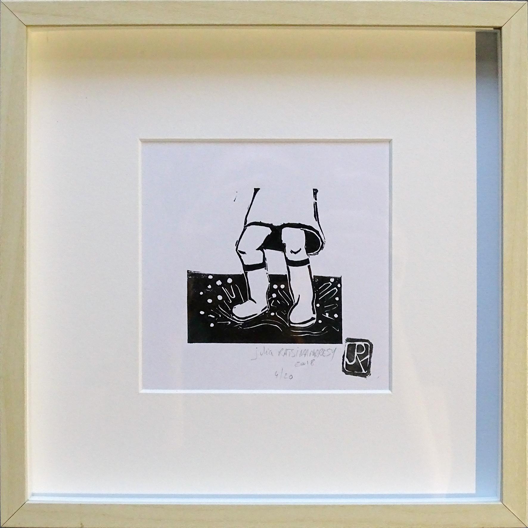 """""""Vive la pluie I"""" ©Julia Ratsimandresy / Linogravure encadrée / Cadre couleur bois+faux verre 25x25 cm / 50€ hors fdp / Dernier exemplaire!"""