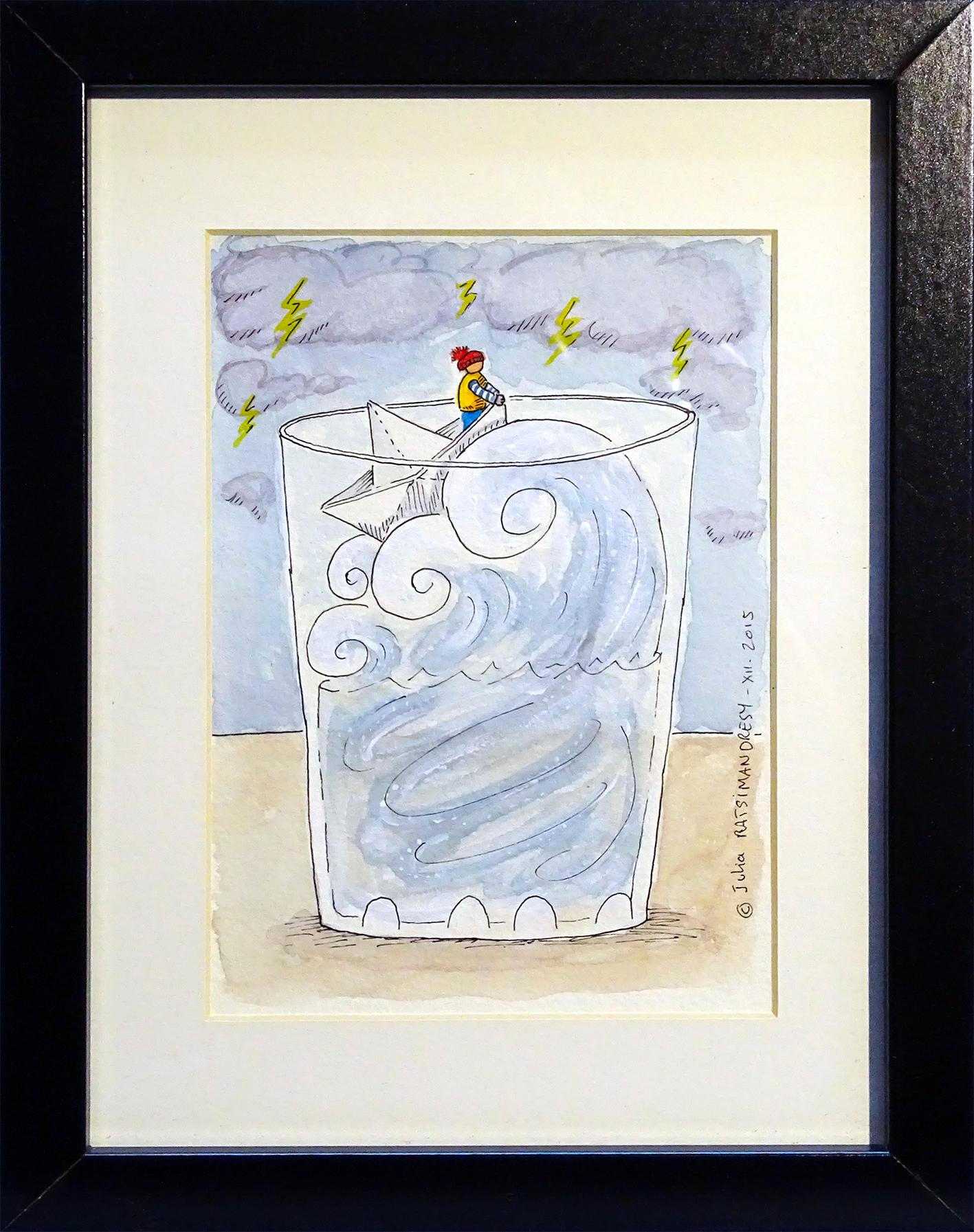 """""""Tempête"""" ©Julia Ratsimandresy / Aquarelle originale encadrée / Cadre bois noir+verre 20,5x26,5 cm / 40€ hors fdp /Exemplaire unique!"""