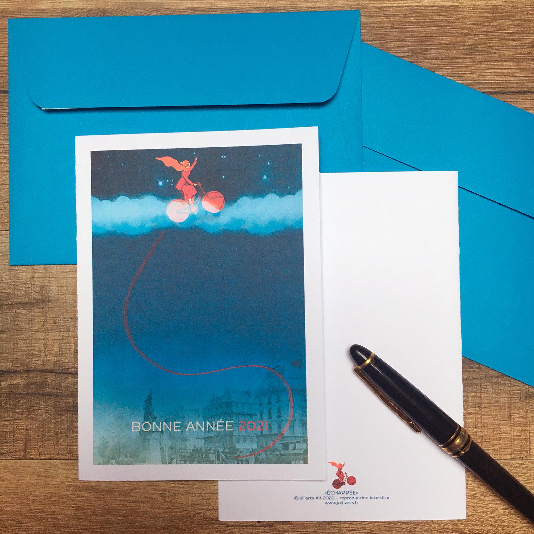 """""""Échappée"""" Carte de vœux double 11x15,5 cm + enveloppe assortie / 6€ le lot de 2 hors fdp / 2 derniers lots!"""