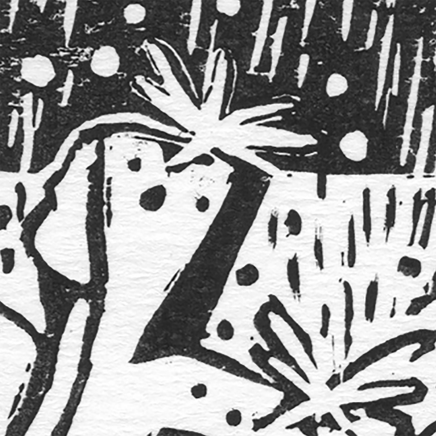 """""""Vive la pluie II"""" détail ©Julia Ratsimandresy / Linogravure encre noire sur papier / 50€ hors fdp"""