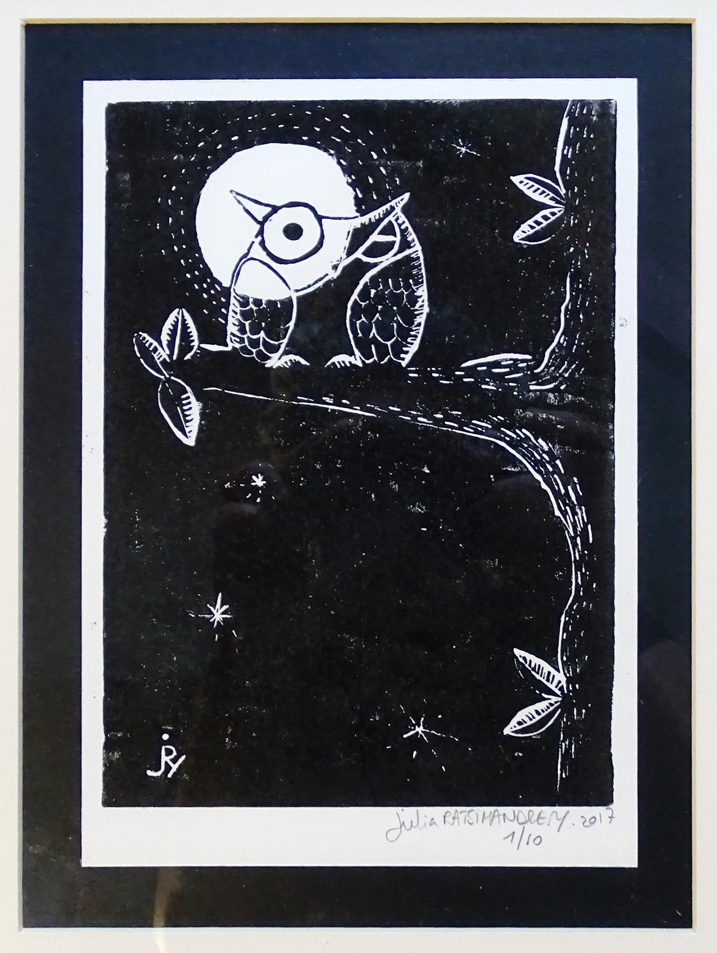 """""""Insomnie de pleine lune"""" ©Julia Ratsimandresy / Linogravure encre noire sur papier, tirage 1/10 signée / 60€ hors fdp"""