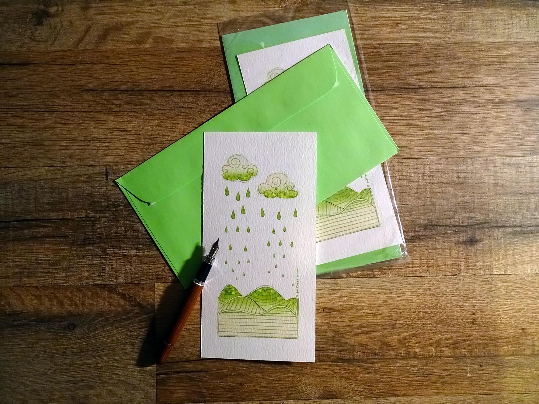 """""""Tye & Dye"""" Carte  9,5x19,5 cm + enveloppe assortie / 3€ pièce hors fdp / 3 derniers exemplaires!"""