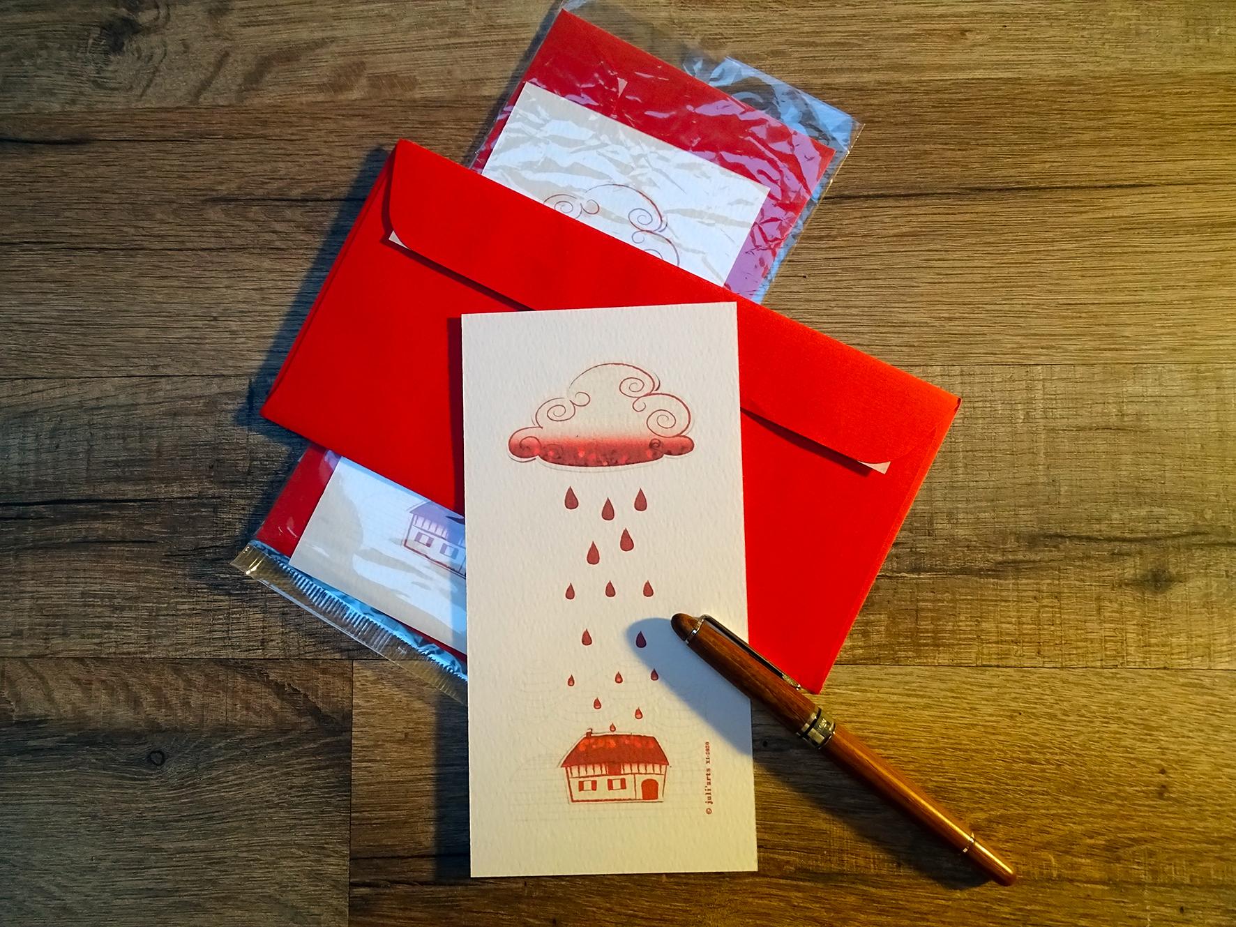 """""""Tye & Dye"""" Carte  9,5x19,5 cm + enveloppe assortie / 3€ pièce hors fdp / 4 derniers exemplaires!"""