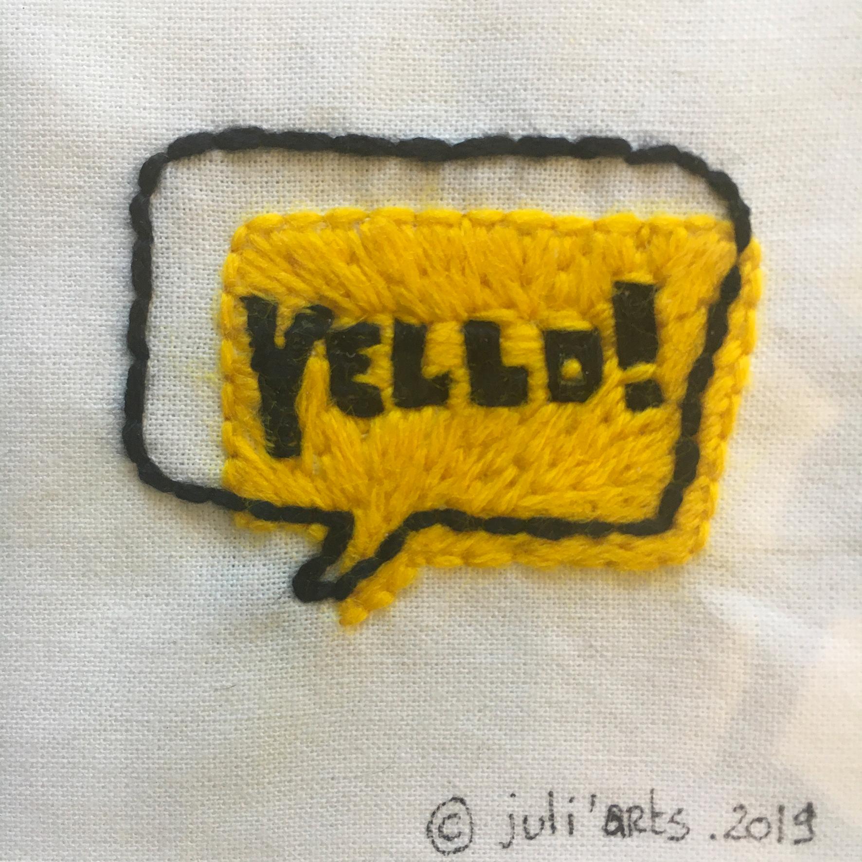 """""""YELLO!"""" ©Julia Ratsimandresy / Broderie fil de coton et laine sur tissu coton / 50€ hors fdp"""