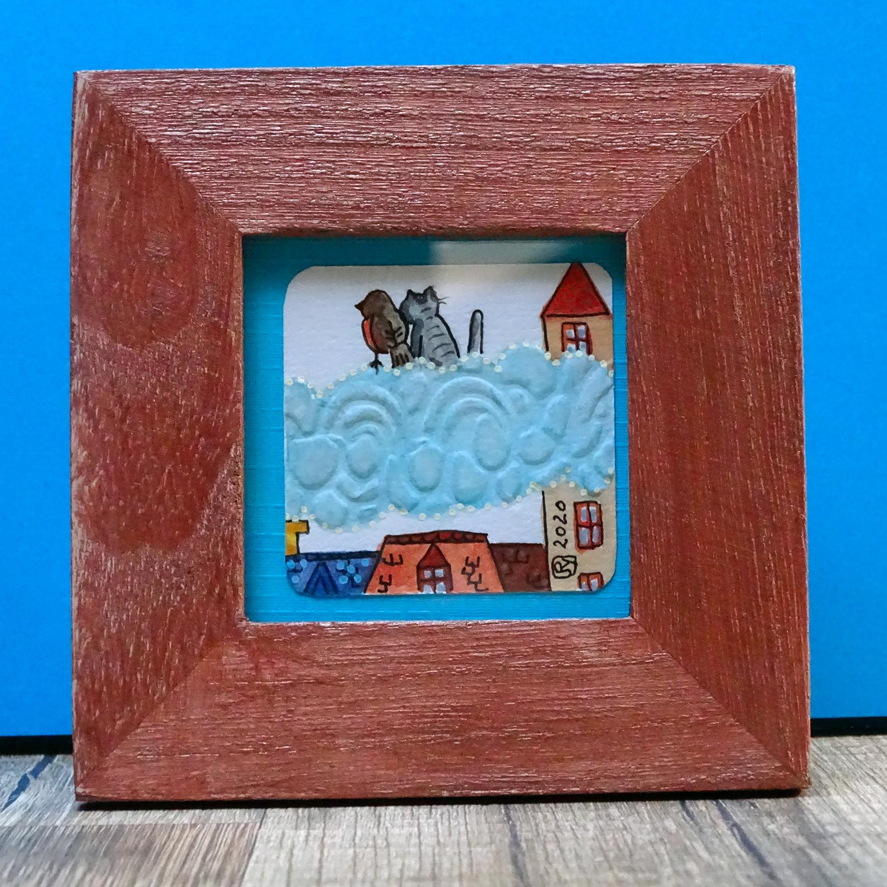 """Par dessus les toits 3"" ©Julia Ratsimandresy / Mini-aquarelle encadrée / Cadre bois bleu+verre 10x10 cm / 15€ hors fdp /Exemplaire unique!"