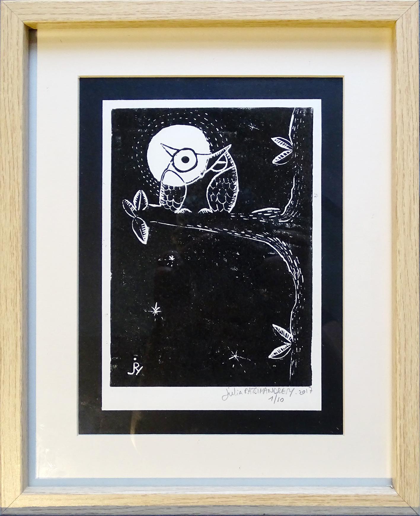 """""""Insomnie de pleine lune"""" ©Julia Ratsimandresy / Linogravure encadrée / Cadre bois+verre format 26x32 cm / 60€ hors fdp / Dernier exemplaire!"""