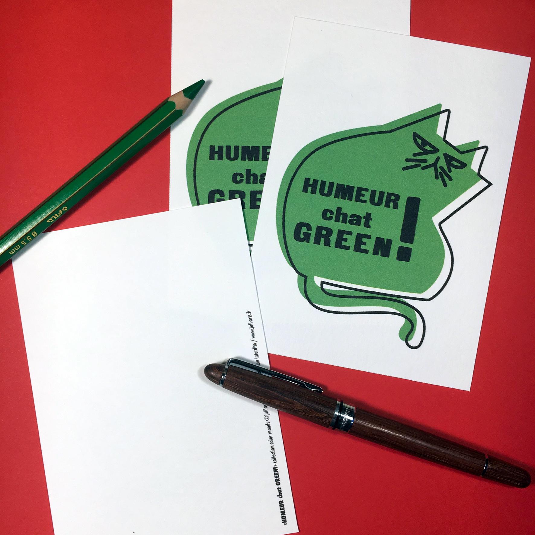 """""""Color Moods Humeur chat GREEN!"""" Carte  10x14 cm + enveloppe blanche / 2,50€ pièce hors fdp / 4 derniers exemplaires!"""