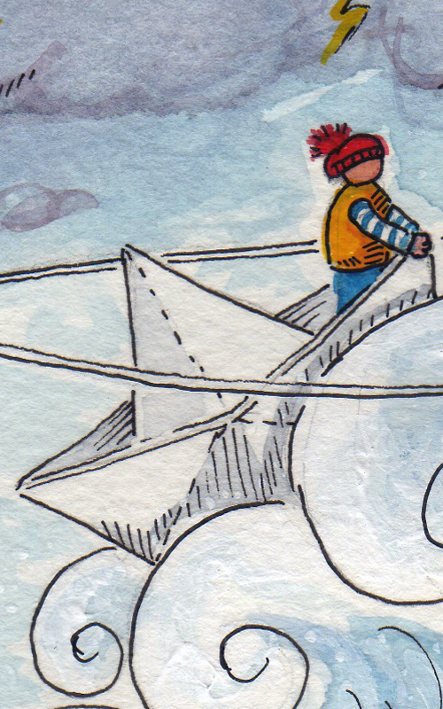 """""""Tempête"""" détail / Aquarelle sur papier, encre de chine, rehauts acrylique / 40€ hors fdp"""
