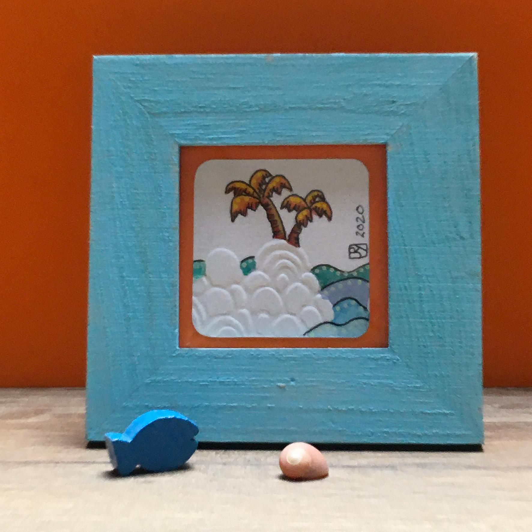 """Odyssée 3"" ©Julia Ratsimandresy / Mini-aquarelle encadrée / Cadre bois bleu+verre 10x10 cm / 15€ hors fdp / Exemplaire unique!"