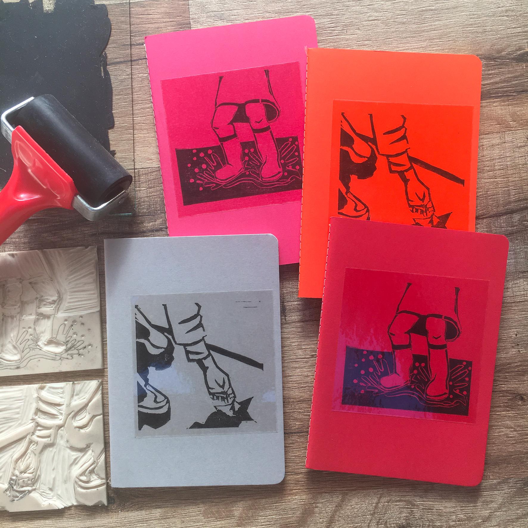 """""""Vive la pluie!"""" Carnet A6 / Illustration linogravure encre noire / 7€ hors fdp / 4 derniers exemplaires!"""