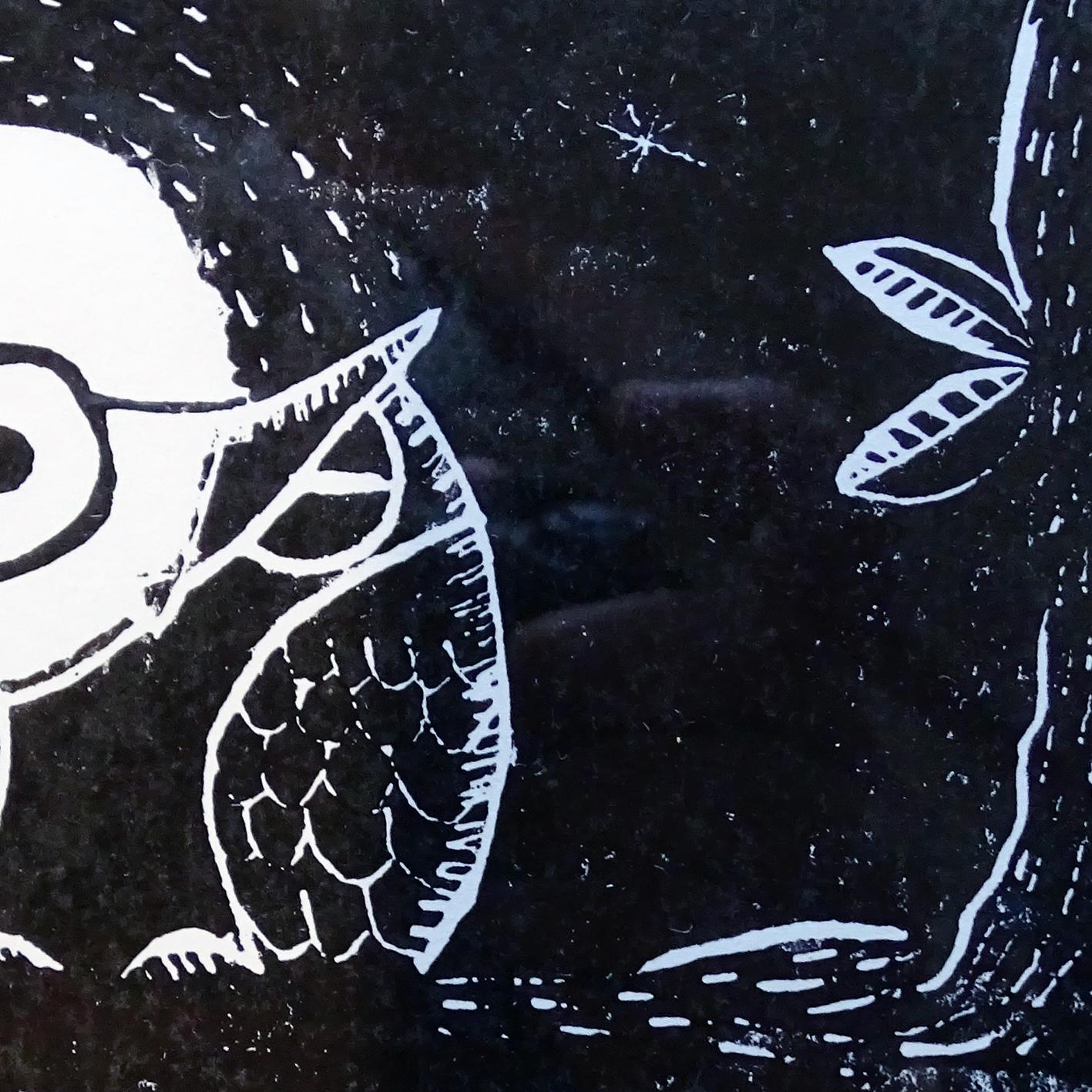 """""""Insomnie de pleine lune"""" détail ©Julia Ratsimandresy / Linogravure encre noire sur papier / 60€ hors fdp"""