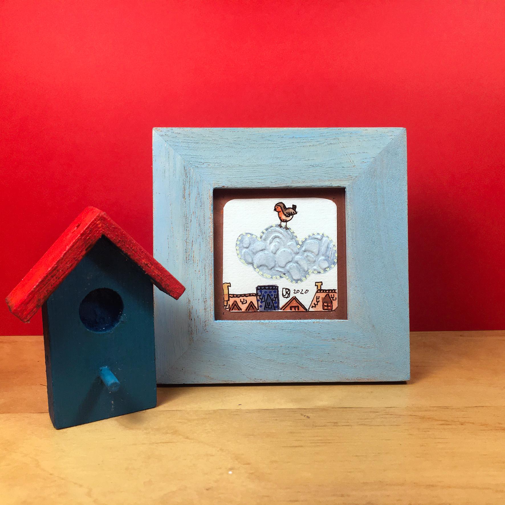 """Par dessus les toits 1"" ©Julia Ratsimandresy / Mini-aquarelle encadrée / Cadre bois bleu+verre 10x10 cm / 15€ hors fdp /Exemplaire unique!"