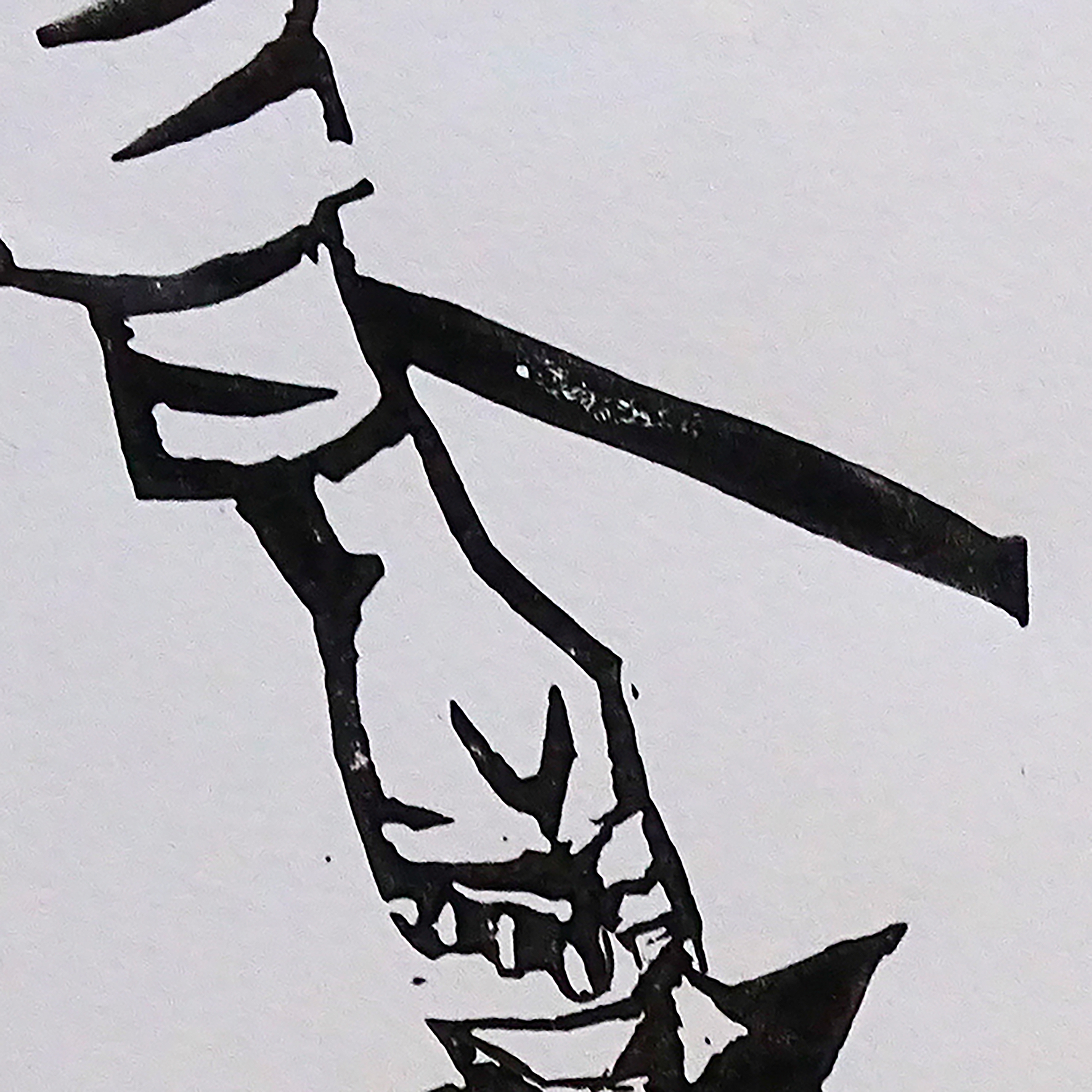 """""""Vive la pluie III"""" détail ©Julia Ratsimandresy / Linogravure encre noire sur papier / 50€ hors fdp"""