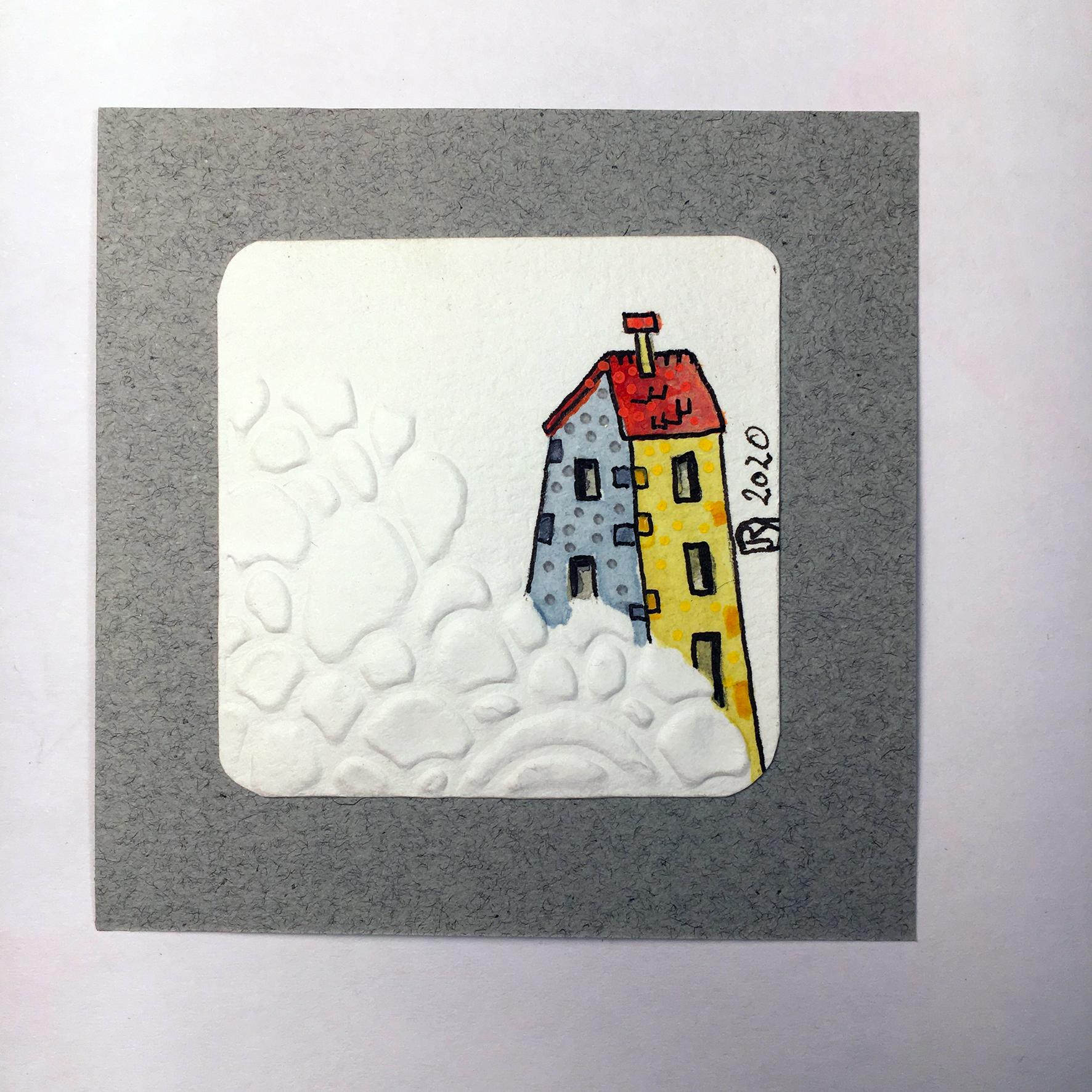 """""""Là-Haut"""" Détail / Mini-aquarelle+embossage à froid / 15€ hors fdp"""