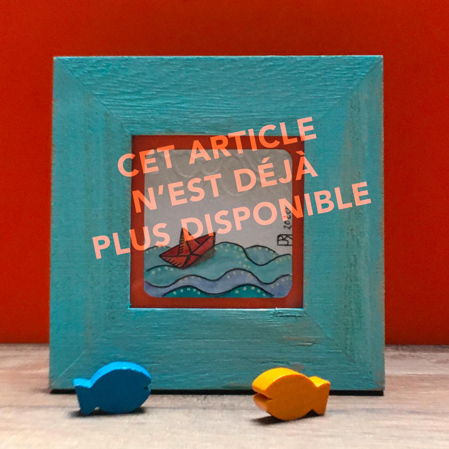 """""""Odyssée 1"""" VENDUE / Mini-aquarelle encadrée / Cadre bois bleu+verre 10x10 cm"""