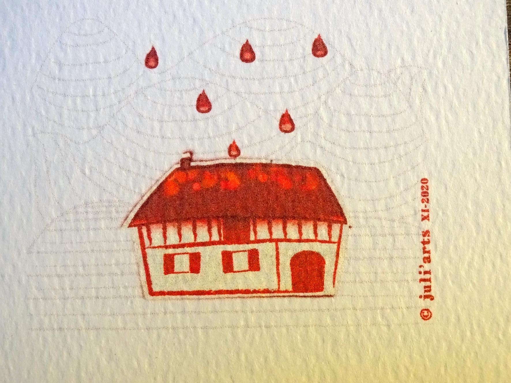 """""""Tye & Dye"""" Maison / Tirage numérique sur papier aquarelle / 3€ pièce hors fdp / 4 derniers exemplaires!"""