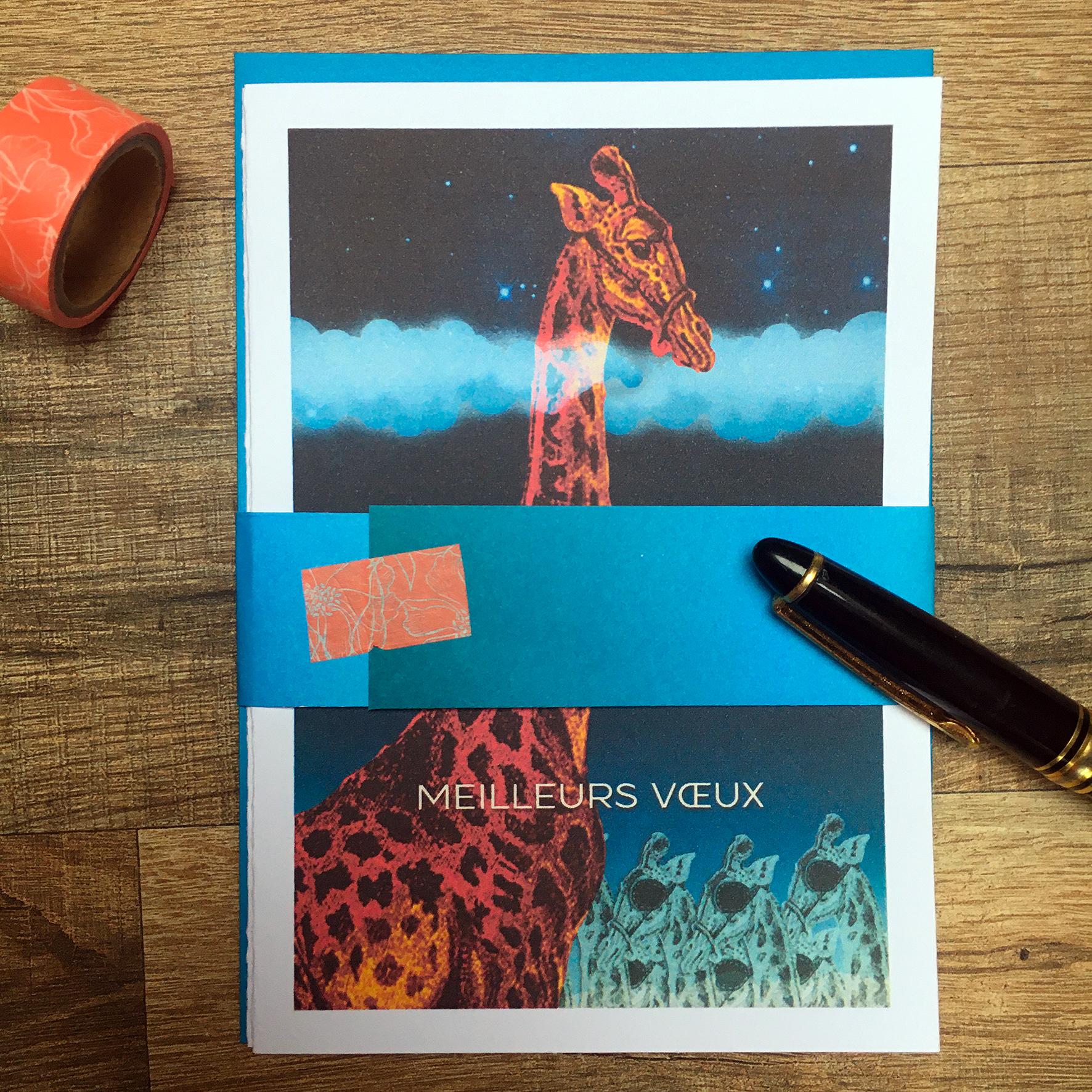 """""""Hauteur"""" Carte de vœux double 11x15,5 cm + enveloppe assortie / 6€ le lot de 2 hors fdp / 2 derniers lots!"""