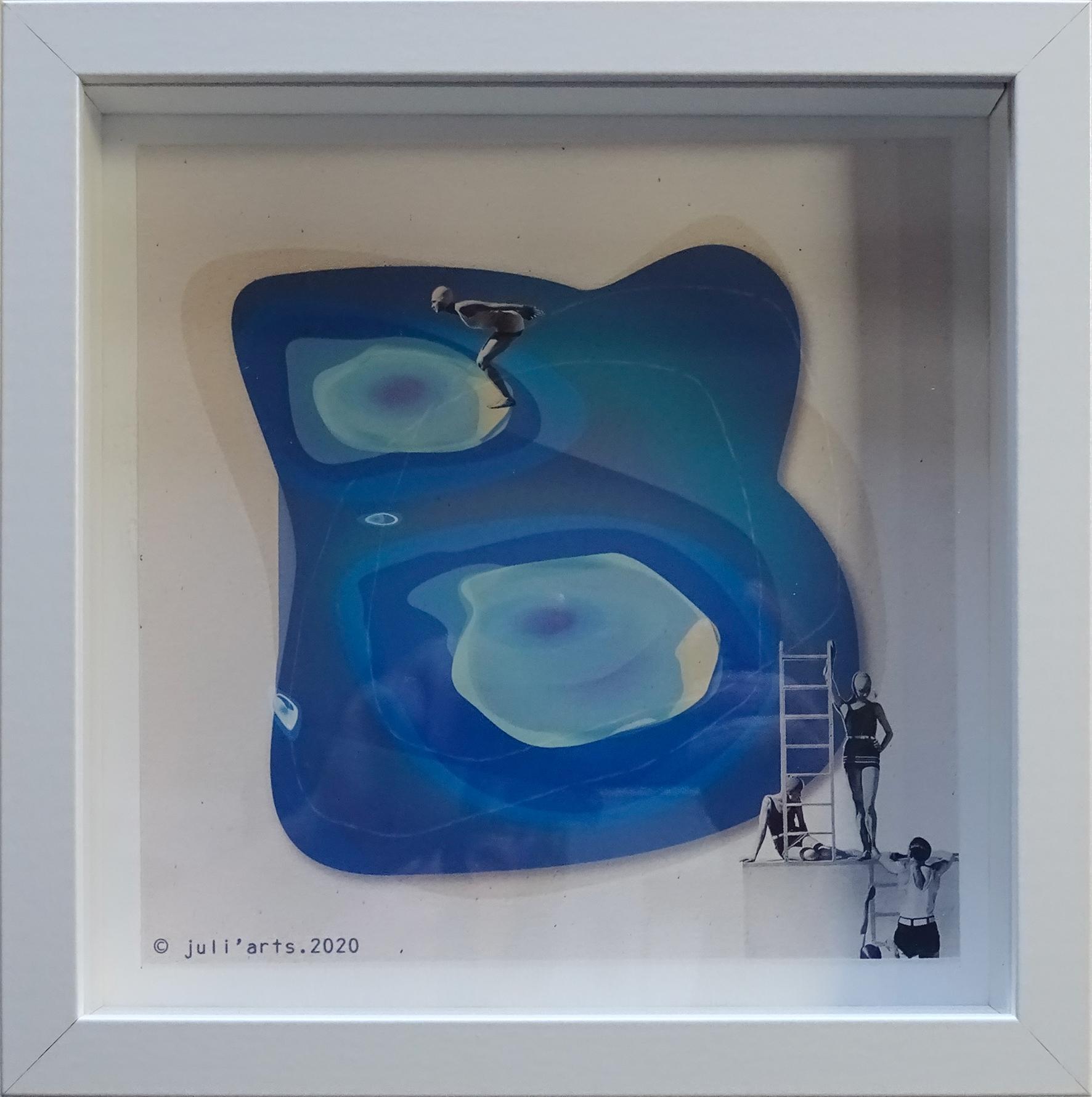 """""""Big swimming pool"""" ©Julia Ratsimandresy / Collage numérique encadrée / Cadre bois+verre 23x23 cm / 30€ hors fdp / Dernier exemplaire!"""