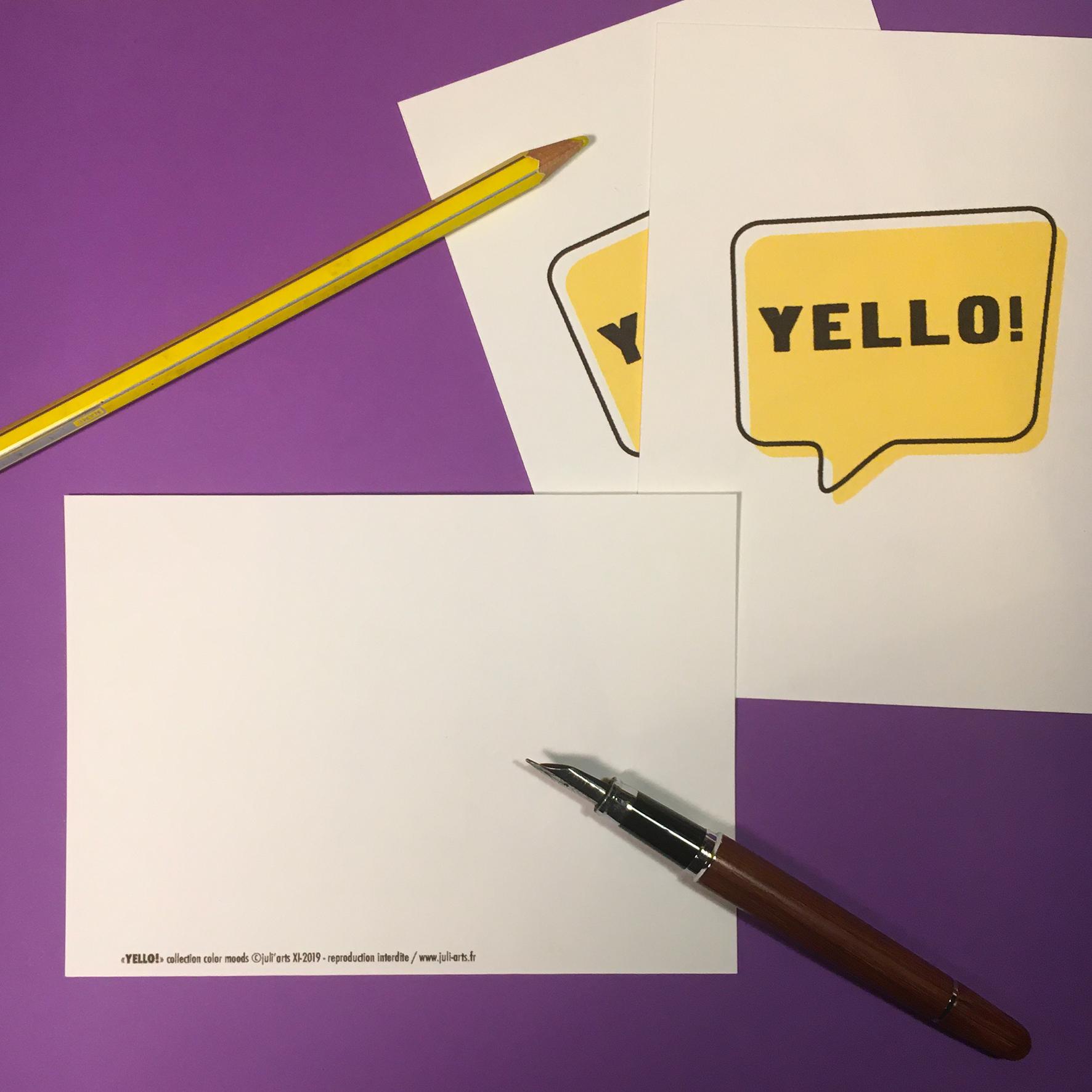 """""""Color Moods YELLO!"""" Carte  10x14 cm + enveloppe blanche / 2,50€ pièce hors fdp / 4 derniers exemplaires!"""