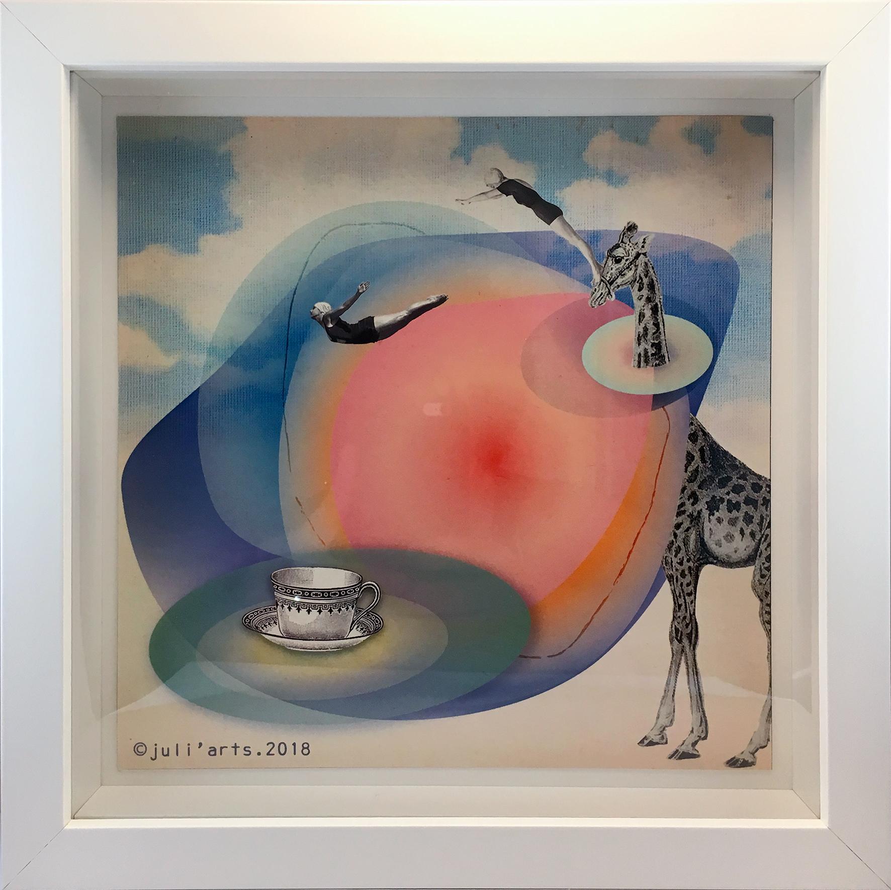 """""""Tea Time"""" ©Julia Ratsimandresy / Collage numérique encadré / Cadre bois+verret 23x23 cm / 30€ hors fdp / Dernier exemplaire!"""