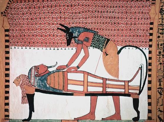Анубис с мумией. Роспись на стене гробницы Сеннеджема
