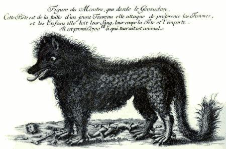 Гравюра, изображающая Жеводанского зверя, с объявлением о награде за его голову (1765)