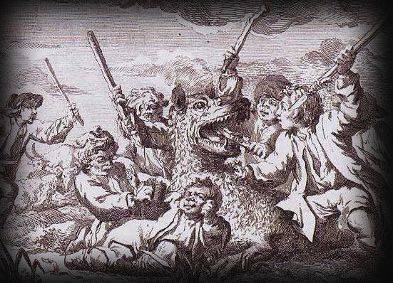 Гравюра XVIII века, изображающая спасение Жака Портфе и его друзей от Зверя