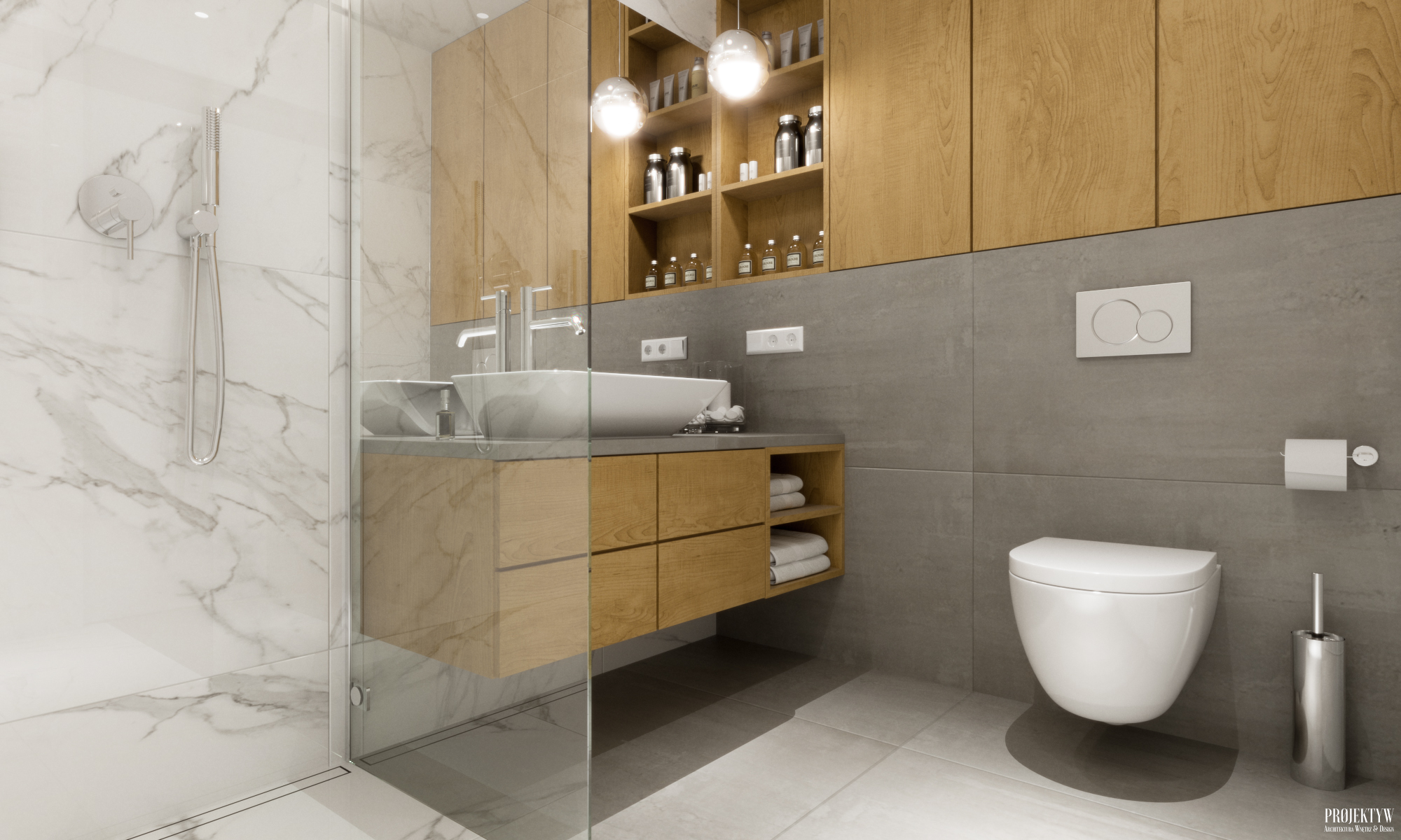 Projekt łazienki w stylu skandynawskim