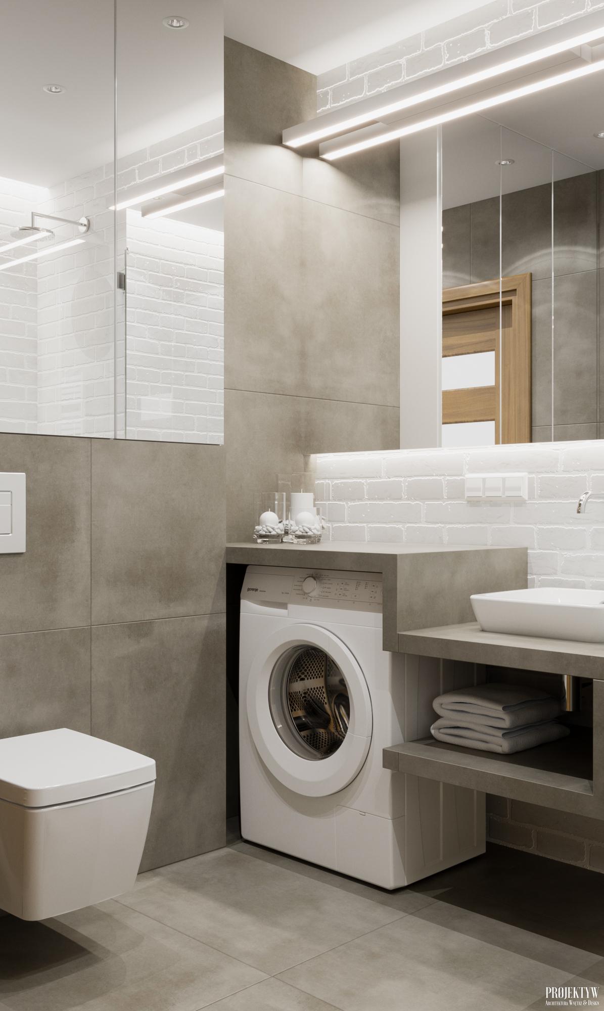 Projekt łazienki z niezabudowaną pralką