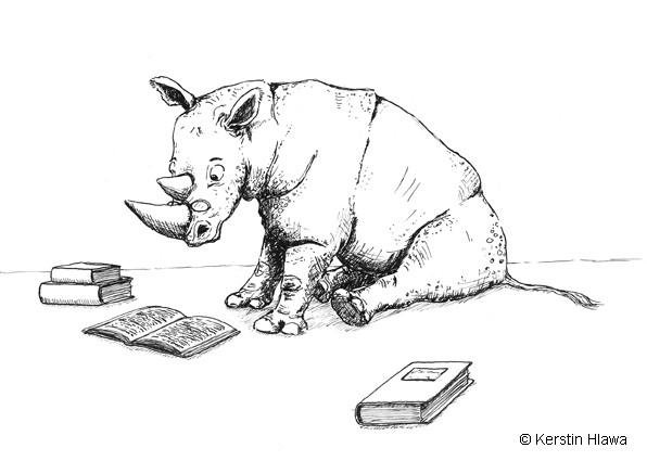 lesendes Nashorn, Tusche, 2010