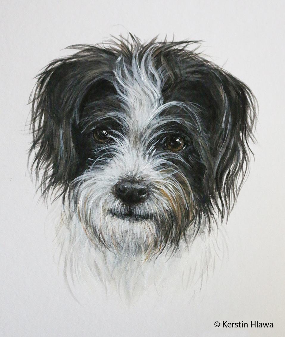 """Hund """"Milka"""", Acryl, A3"""