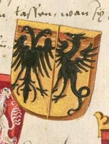 Phantasiewappen Cäsars mit Doppeladler und Drachen aus Grünenbergs Wappenbuch