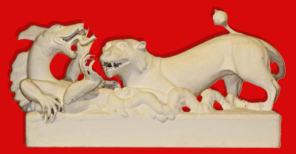 Löwe im Kampf gegen einen Drachen, Plastik von Ellen Roosval von Hallwyl, um 1900