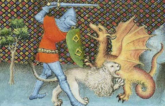 Iwein und der Löwe im Kampf mit dem Drachen, französische Buchillustration, 15. Jahrhundert (Quelle: Wikipedia)