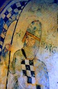 Wandmalerei mit der Darstellung St. Georgs in der Kirche von St. Jacques des Guérets, 12. Jahrhundert