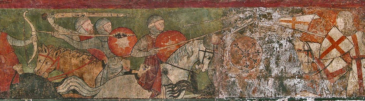 St. Georg greift in die Schlacht bei Antiochia ein, Wandmalerei in der Kathedrale von Clermond