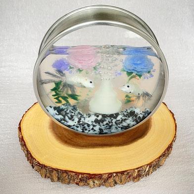 浮かせ花の金魚鉢ゼリー2