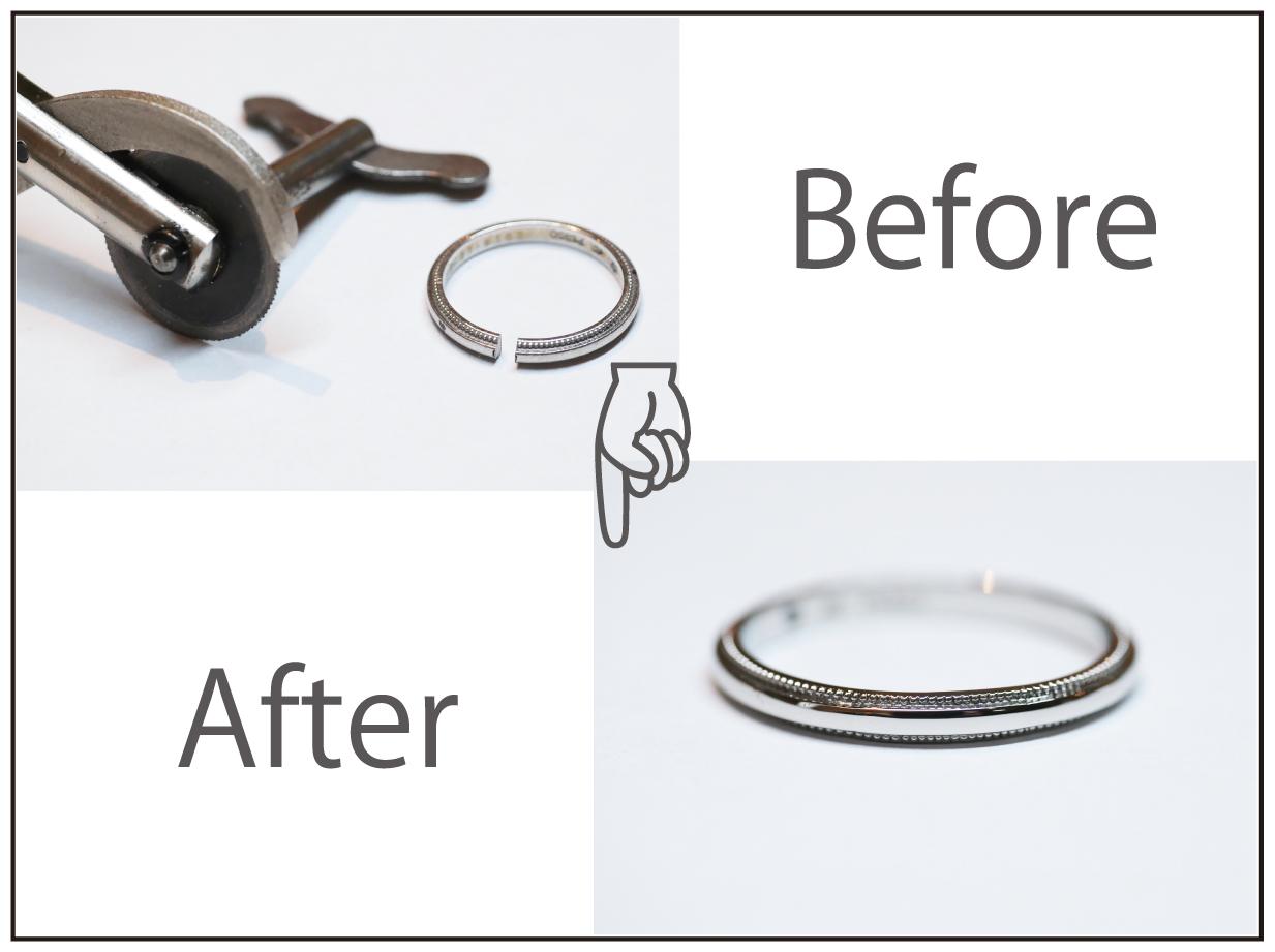 4℃のミルグレンのプラチナマリッジリングの切断とサイズ変更!