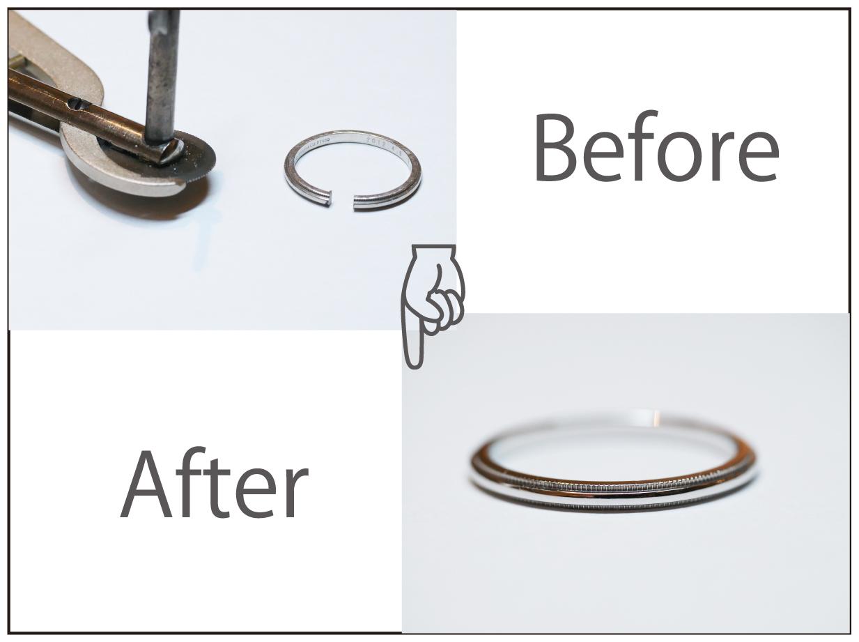 ティファニーのミル付きプラチナマリッジリングの切断とサイズ変更!!