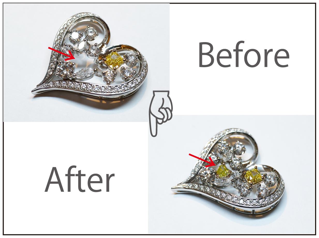 プラチナダイヤモンドネックレストップに持ち込みイエローダイヤモンド追加のリフォーム!!