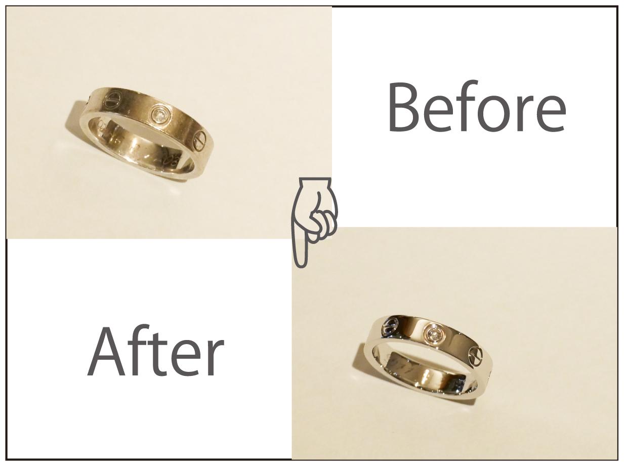 カルティエダイヤ付きラブリングをデザインそのままに切断無しのサイズ変更!