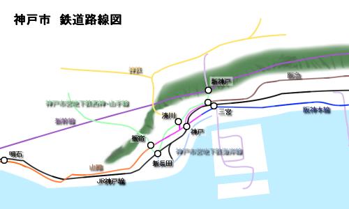 現状の神戸市内鉄道路線図