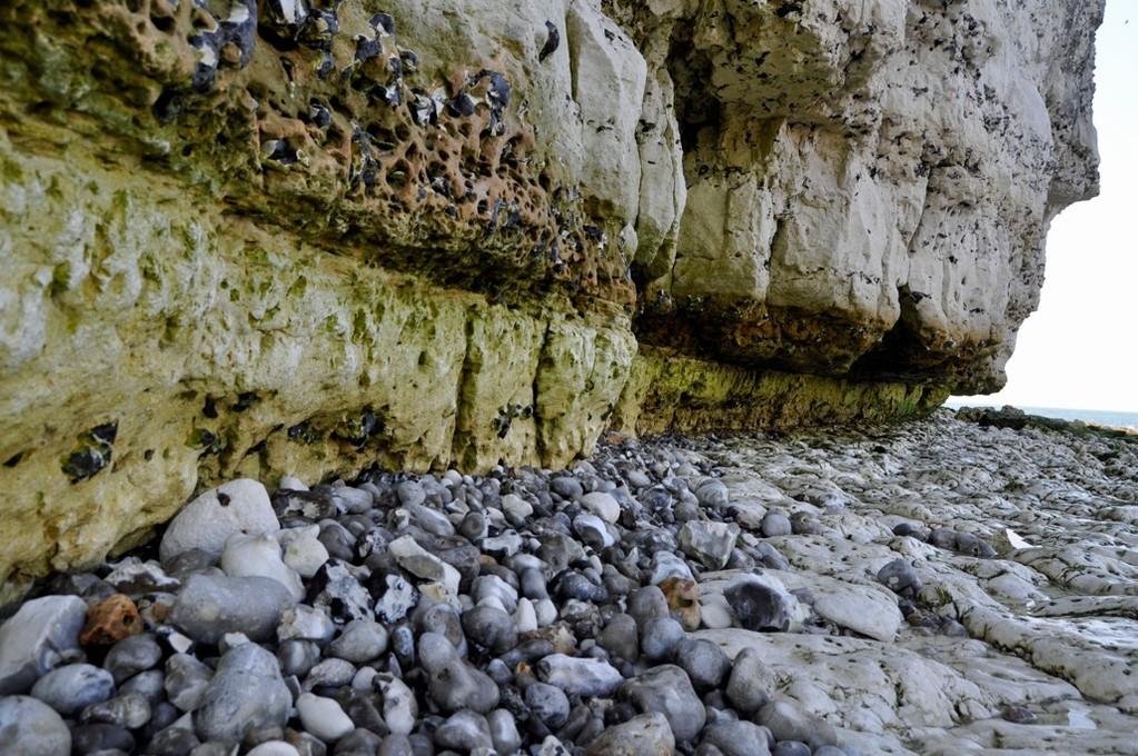 崖の真下は丸い石と黄色い岩。