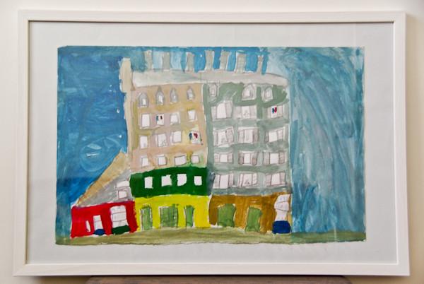 パリ市庁舎のミニチュア模型(建物の一部)を見ながら描いた作品