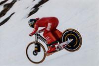 Pendant le record du monde de vitesse sur neige
