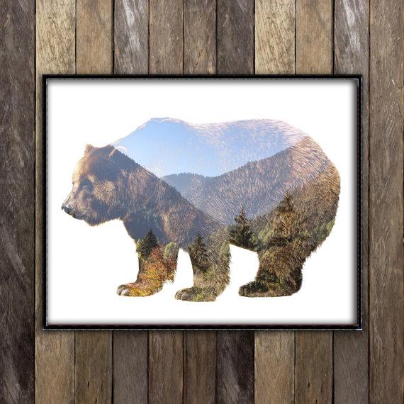 Imprimé d'un ours grizzly – effet double exposition