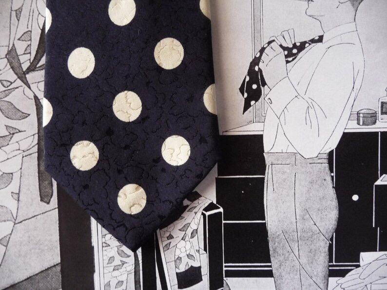Cravate marine à pois, vintagekoma, 24,00 $