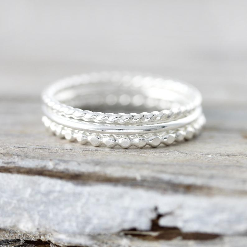Set of 3 textured stacking rings - Le Cubicule