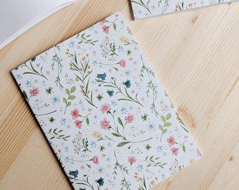 Joannie houle art, cahier, cadeau, enseignant, éducatrice, fleur, feuille