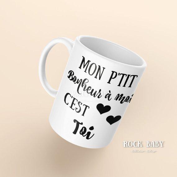 Tasse avec message de Rock baby par Julie Côté